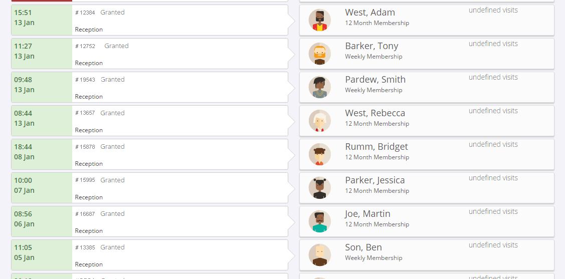 GymMaster Recent Visitors Screenshot