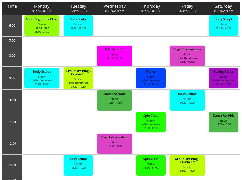 GymMaster Calendar