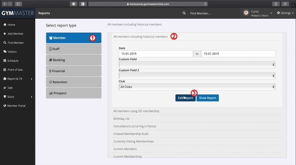 Standard report page steps to customise GymMaster reports