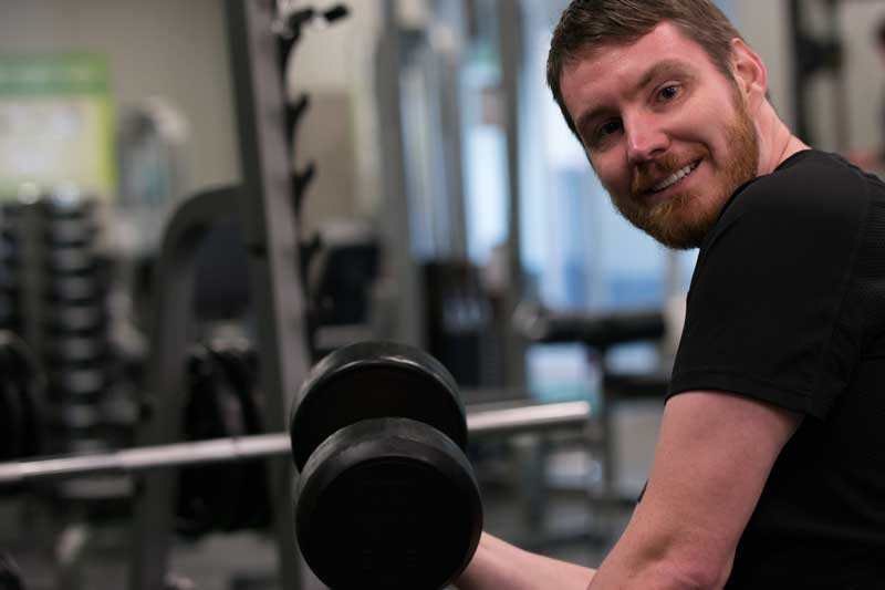 Man who attends gym regularly