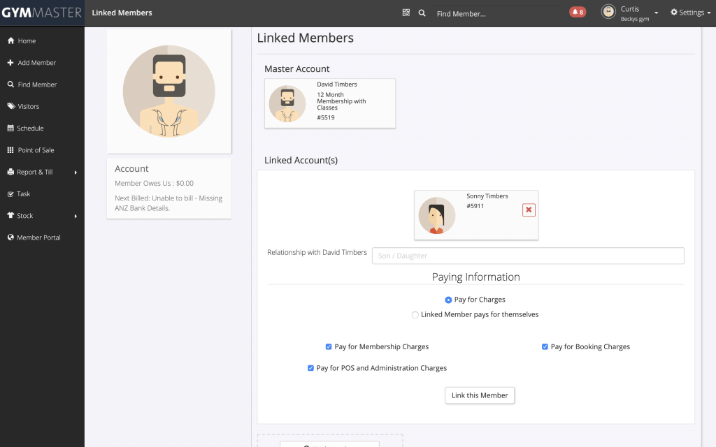 gymmaster shared family memberships - adding membership to member