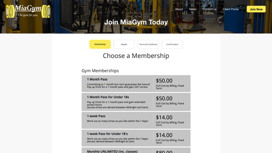 gym website after sign up member portal